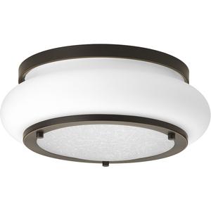 """One-Light 12"""" LED Opal-Linen Flush Mount"""