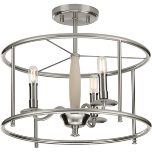 Durrell Collection Brushed Nickel Semi-Flush Convertible
