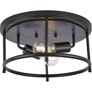 "Durrell Collection Two-Light Black 13"" Flush Mount"