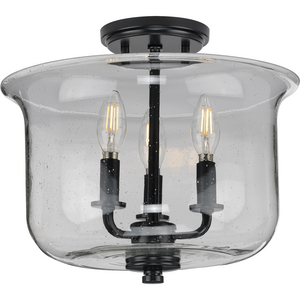 Winslett Collection Black Three-Light Semi-Flush Convertible