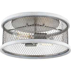 "Austelle Collection Two-Light Galvanized 14"" Flush Mount"