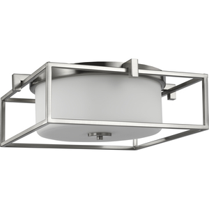 """Chadwick Collection Two-Light Brushed Nickel 15-3/8"""" Flush Mount"""
