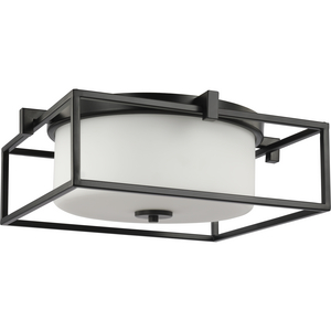 "Chadwick Collection Two-Light Black 15-3/8"" Flush Mount"