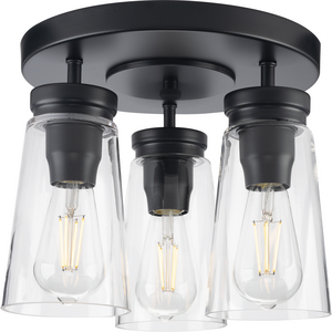 Stockbrace Collection Three-Light Matte Black and Clear Glass Farmhouse Style Flush Mount Ceiling Light