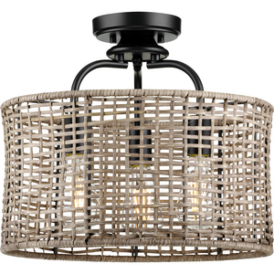Lavelle Collection Three-Light Natural Rattan Textured Black Global Semi-Flush Mount Convertible Ceiling Light