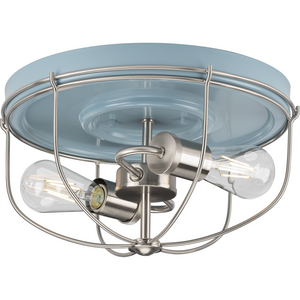 Medal Collection Two-Light Coastal Blue/Brushed Nickel Industrial Style Flush Mount Ceiling Light