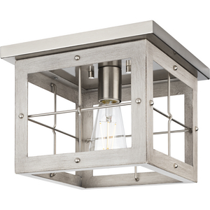 Hedgerow Collection One-Light Brushed Nickel and Grey Washed Oak Farmhouse Style Flush Mount Ceiling Light