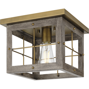 Hedgerow Collection One-Light Distressed Brass and Aged Oak Farmhouse Style Flush Mount Ceiling Light