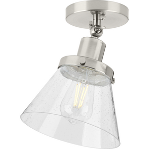 Hinton Collection One-Light Brushed Nickel and Seeded Glass Vintage Style Ceiling Light