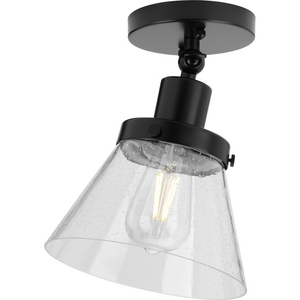 Hinton Collection One-Light Matte Black and Seeded Glass Vintage Style Ceiling Light