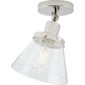 Hinton Collection One-Light Polished Nickel and Clear Seeded Glass Vintage Style Ceiling Light