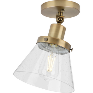 Hinton Collection One-Light Vintage Brass and Seeded Glass Vintage Style Ceiling Light