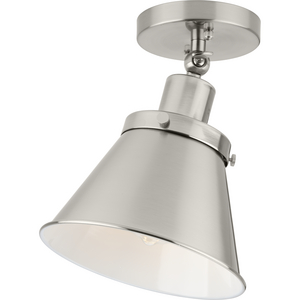 Hinton Collection One-Light Brushed Nickel Vintage Style Ceiling Light