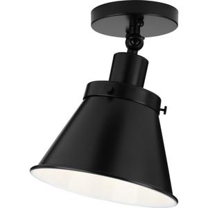 Hinton Collection One-Light Matte Black Vintage Style Ceiling Light