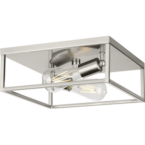 Perimeter Collection Two-Light Brushed Nickel Modern Style Flush Mount Ceiling Light