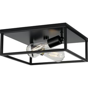 Perimeter Collection Two-Light Matte Black Modern Style Flush Mount Ceiling Light