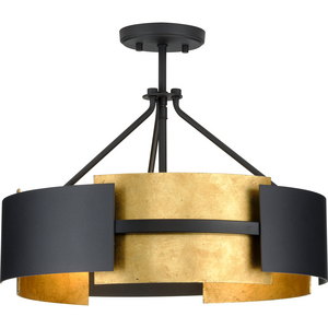 Lowery Collection Three-Light Textured Black/Distressed Gold Convertible Semi-Flush Ceiling or Hanging Pendant Light