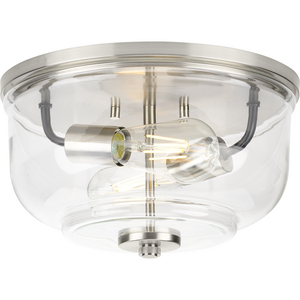 Rushton Collection Two-Light Brushed Nickel and Clear Glass Industrial Style Flush Mount Ceiling Light