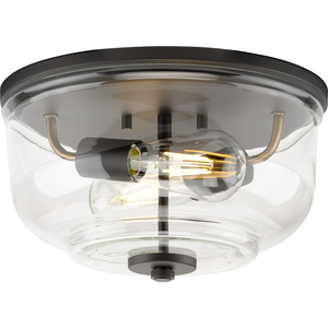Rushton Collection Two-Light Graphite and Clear Glass Industrial Style Flush Mount Ceiling Light