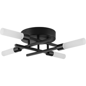 Quadrant LED Collection Four-Light Matte Black Modern Style Flush Mount Ceiling or Wall Light