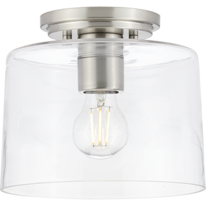 Adley Collection  One-Light Brushed Nickel Clear Glass New Traditional Flush Mount Light