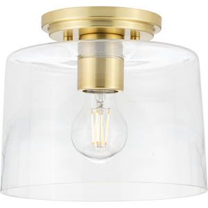 Adley Collection  One-Light Satin Brass Clear Glass New Traditional Flush Mount Light
