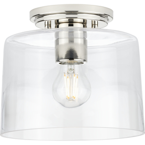 Adley Collection  One-Light Polished Nickel Clear Glass New Traditional Flush Mount Light