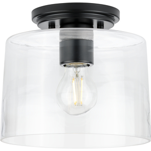 Adley Collection  One-Light Matte Black Clear Glass New Traditional Flush Mount Light