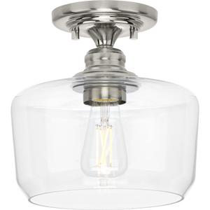 Aiken Collection  One-Light Brushed Nickel Clear Glass Farmhouse Flush Mount Light