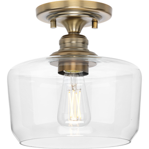 Aiken Collection  One-Light Vintage Brass Clear Glass Farmhouse Flush Mount Light