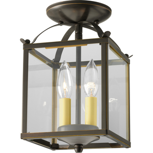 Flat Glass Two-Light Foyer Pendant