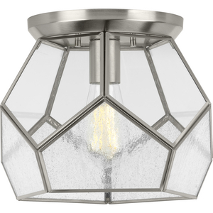 """Cinq Collection Brushed Nickel One-Light 12"""" Flush Mount"""