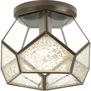 "Cinq Collection Antique Bronze One-Light 12"" Flush Mount"