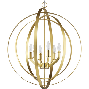 Equinox Collection Satin Brass Six-Light Sphere Pendant