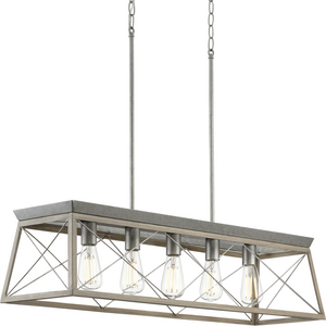 Briarwood Collection Five-Light Galvanized and Bleached Oak Farmhouse Style Linear Island Chandelier Light