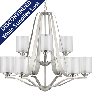Kene Collection Brushed Nickel Nine-Light Chandelier