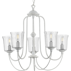 Bowman Collection Cottage White Five-Light Chandelier