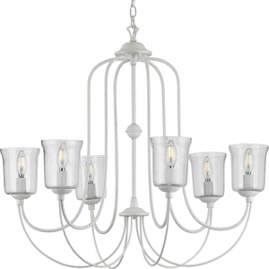 Bowman Collection Six-Light Cottage White Chandelier