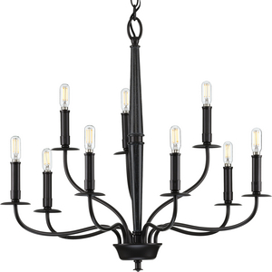 Durrell Collection Nine-Light Black Chandelier