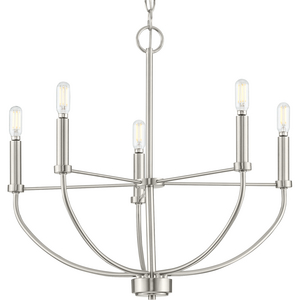 Leyden Collection Five-Light Brushed Nickel Farmhouse Style Chandelier