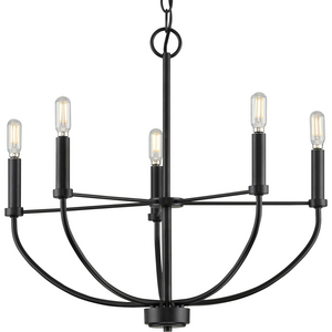 Leyden Collection Five-Light Matte Black Farmhouse Style Chandelier
