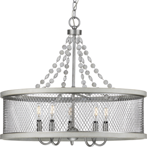 Austelle Collection Five-Light Galvanized Chandelier