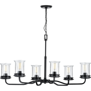 Winslett Collection Black Six-Light Oval Chandelier