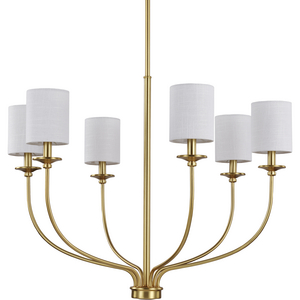 Bonita Collection Six-Light Satin Brass Foyer Chandelier