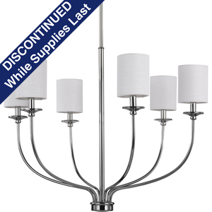Bonita Collection Six-Light Polished Chrome White Linen Fabric Shade Luxe Chandelier Light