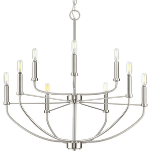 Leyden Collection Nine-Light Brushed Nickel Farmhouse Style Chandelier Light