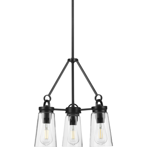 Stockbrace Collection Three-Light Matte Black and Clear Glass Farmhouse Style Chandelier Light