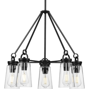Stockbrace Collection Five-Light Matte Black and Clear Glass Farmhouse Style Chandelier Light