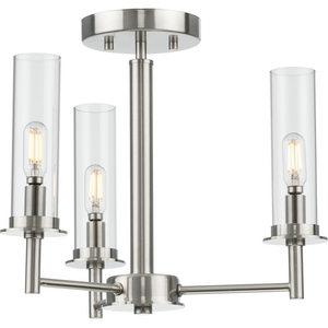Kellwyn Collection Three-Light Brushed Nickel and Clear Glass Transitional Style Convertible Semi-Flush Ceiling or Hanging Pendant Light