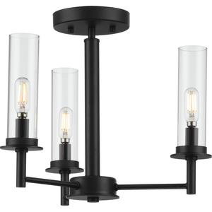 Kellwyn Collection Three-Light Matte Black and Clear Glass Transitional Style Convertible Semi-Flush Ceiling or Hanging Pendant Light